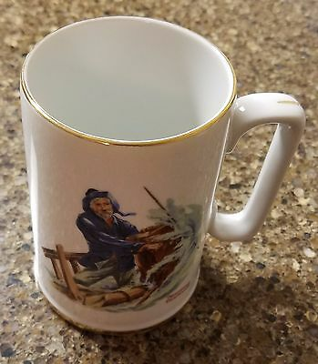 1985 Norman Rockwell For A Good Boy Cup Mug Museum Gold Rimmed White Sail Ship