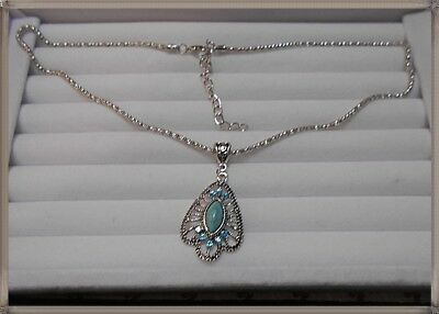 Lovely Silver Tone Unusual Pendant and chain
