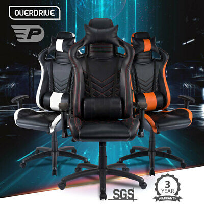 OVERDRIVE Gaming Chair - Black Office Computer Racing PU Leather Executive Race