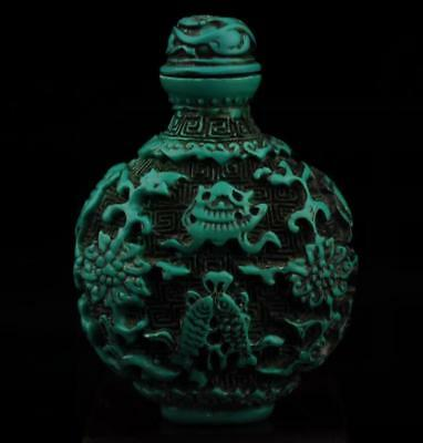 Chinese old hand carved flower pattern rammel snuff bottle a01