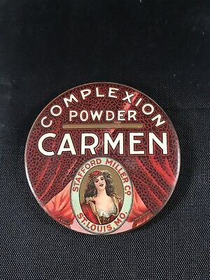 Antique Carmen Complexion Powder Advertising Pocket Purse Mirror Stafford Miller