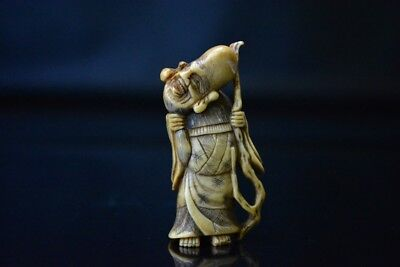 Antique Japanese Netsuke Old Man Vintage Stag Horn Rare Free Shipping From Japan