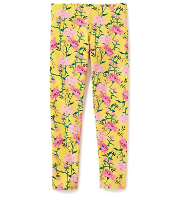 NWT Old Navy Girls XS/M/XL Yellow & Pink Floral Full Length Stretch Leggings