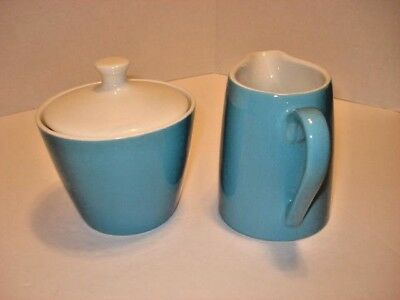 Blue and White Ceramic Vintage Creamer and Sugar Bowl with Lid