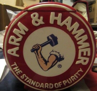 Vintage ARM & HAMMER The Standard of Purity RED Cookie Jar w/Lid Rare No Chips