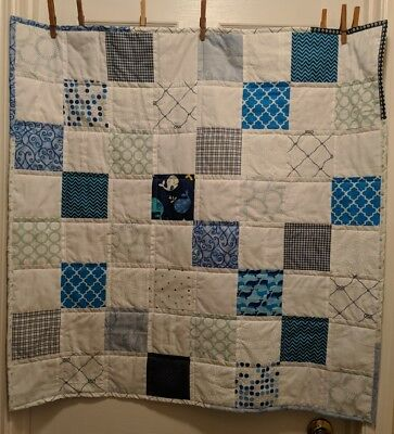 Handmade Baby Quilt Unisex Blue White Nautical Low Volume Patchwork 35x35