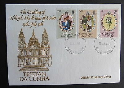 Tristan Da Cunha 1981 Royal Wedding FDC First Day Cover Flowers Diana Charles