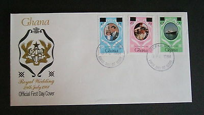 Ghana 1981 Royal Wedding surcharge revalued FDC First Day Cover Princess Diana