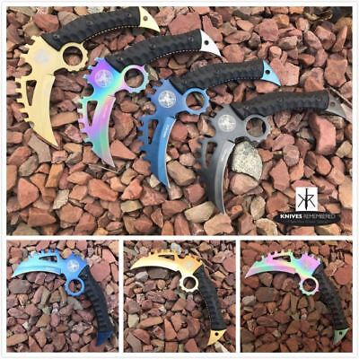 Monogram Custom Knives Engraved Personalized Knife Fixed Blade Tactical Karambit