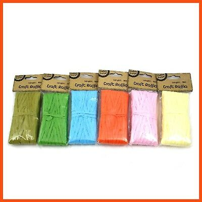 12 x COLOURED CRAFT RAFFIA 30M LENGTH  Wedding Favour Gift Wrapping Twine Ribbon