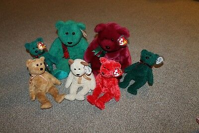 TY Beanie Baby/Buddy Lot - HOLIDAY 01, WALLACE, CASHEW, HUGGY, SIZZLE, TEDDY NWT