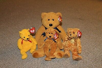 TY Beanie Baby Bear Lot - FUZZ and FUZZ Buddy - POOPSIE - TEDDY