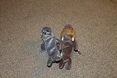 TY Beanie Baby SLIPPERY the seal and JOLLY the walrus - MWMT