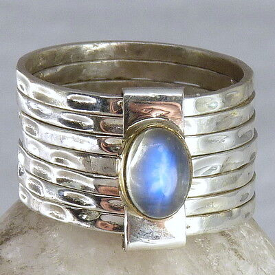 7-STACK + Gem Sz US 7.25 SILVERSARI Ring Solid 925 Stg Silver MOONSTONE STR1009