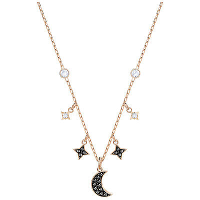 e50d167d60 Swarovski 5429737 Duo Moon Necklace, Black,Rose Gold Plated, Length:34cm RRP