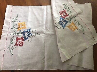 Antique Floral Embroidered White Linen Table Runner Cloth