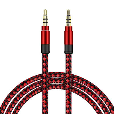 SDTEK Extra Long 3 Metres Red Braided Aux Audio Cable Jack Stereo 3m 3.5mm Cable