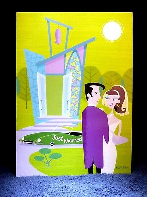 "SHAG Rare 2003 ""JUST MARRIED- HAPPY DAYS"" -Greeting Card Notecard Josh Agle- NEW"