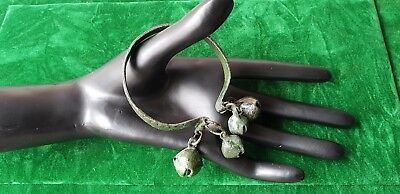 Viking Decorated Stamped Wolfs Tooth Bracelet With Bells Rare