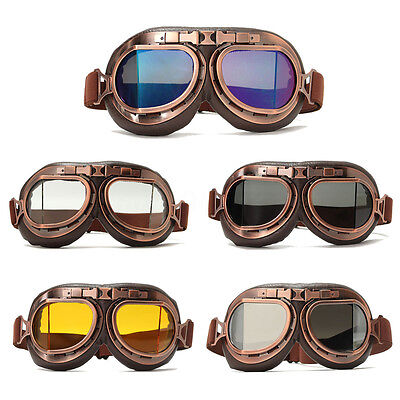 Retro Motorcycle Goggles Motorbike Flying Scooter Pilot Aviator Helmet Glass AU