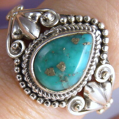 Filigree Feature Gemstone Sz US 7.25 SilverSari Ring Solid 925 Silver TURQUOISE