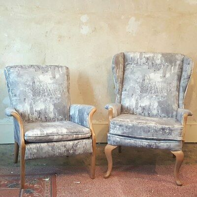 Reupholstered Parker Knoll 918 749-1014 Chairs Natural Wood Venice Grey Fabric