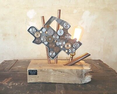 Industrial Lamp Gear Assembly Copper Pipes Reclaimed Wood Filament Bulb