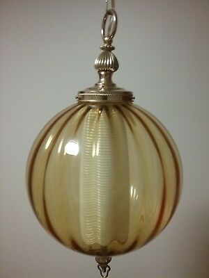 Vintage Retro 1960's Original Glass Ceiling Light Glass Amber Hanging Swag Lamp