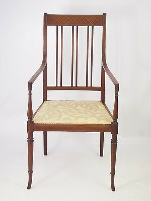 Antique Edwardian Mahogany Inlaid Open Armchair -Vintage Desk Bedroom Hall Chair