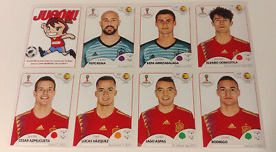 Panini World Cup Russia 2018: Extra Update Sticker Set (Spain). Sheet Of 7.