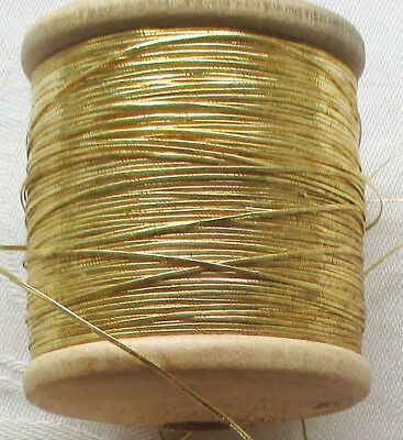 Vintage Wooden Spools Flat Gold Metallic Thread French