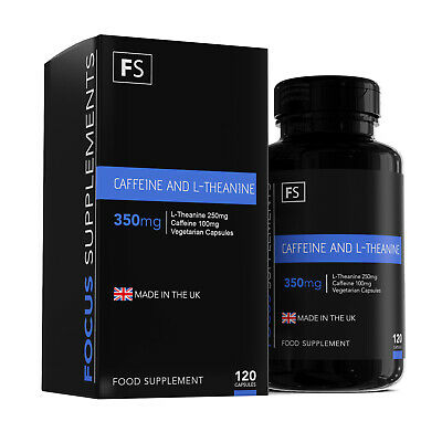 Caffeine (100mg) and L-Theanine (250mg) Combined Stack  | 120 Capsules | Energy