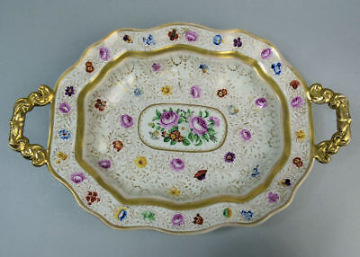 Antique German Reichenstein Finely Hand Painted Porcelain Twin Handled Dish 1850