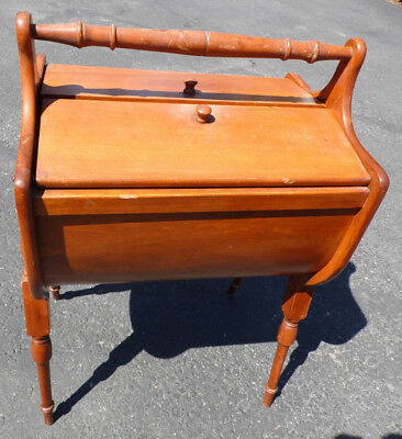Clam Shell Type Maple Wood Sewing Box Stand Vintage Handles 4 Legged Mid Century