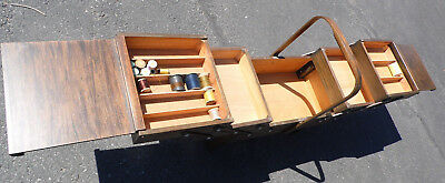 """SINGER Fold Out Wood Sewing Jewelry Box Stand Expandable 66"""" Vintage Handles"""