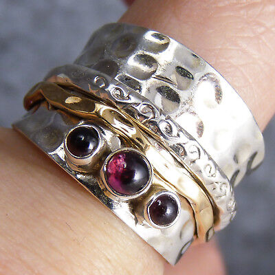 WIDE ORNATE Spinner US 8.5 SilverSari Ring Solid 925 Stg Silver GARNET SPR1025