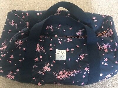 Jack Wills Bag Womens Overnight Gym Holdall Pink Navy Star Print
