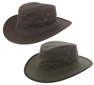 Waxed Cotton Brim Hat In Brown or Olive Green Size S,M,L,XL,XXL