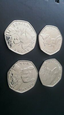 Full Set Of 4 Brand New Uncirculated 2017 Beatrix Potter 50p Coins