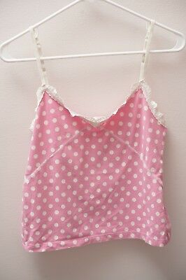 Pink Victoria's Secret Women's Polka Dot Camisole Tank Crop Top Size Large