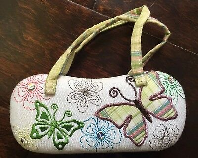 Girls Floral and Butterfly Sunglasses Case Purse Tote