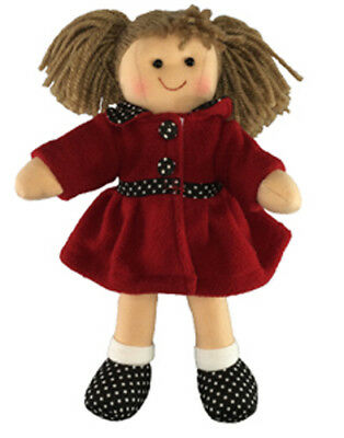 Lovely Soft Rag Doll Pia, Dressed with a Red Coat Girl Dolly 25cm New