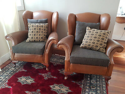 Pair Leather Wingback Armchairs