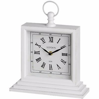 Vintage White Square Shelf Clock - Shabby Chic Pocket Watch Style - Mantel Desk