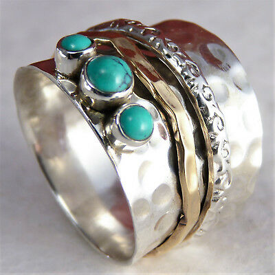 WIDE ORNATE Spinner US 8.5 SilverSari Ring Solid 925 StgSilver TURQUOISE SPR1025
