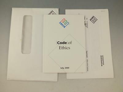 Rare Enron Code Of Ethics Manual With Employee Packet, Letter From Ken Lay