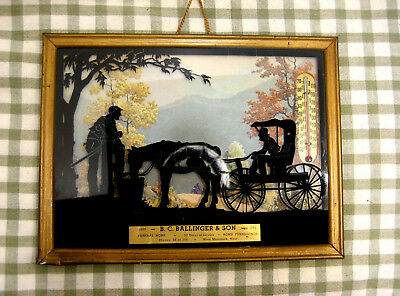 Vtg. Silhouette Horse & Buggy Country Scene Thermometer Funeral Home Ad 1952 Old
