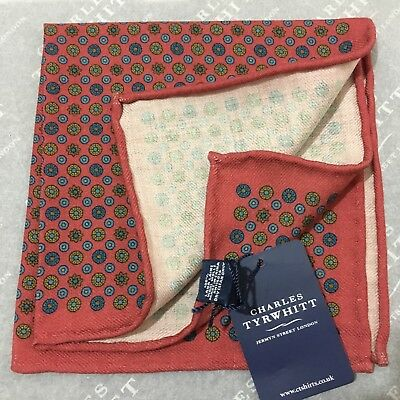 Mens Pocket Square CHARLES TYRWHITT Hand Made Wool RED BLUE GOLD Geometric Spot