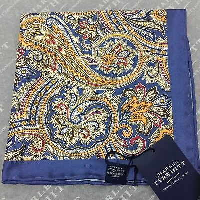 Mens Pocket Square CHARLES TYRWHITT Hand Made Silk BLUE GOLD RED Ornate Paisley