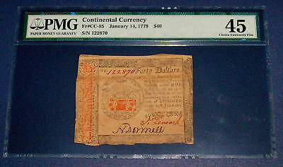 PMG January 14 1779 CONTINENTAL CURRENCY $40 Forty Dollar  FR CC 95  XF 45
